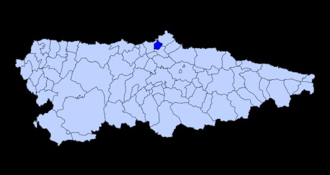Ubicación de Avilés en el mapa de Asturias