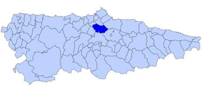 Ubicación de Llanera en el mapa de Asturias